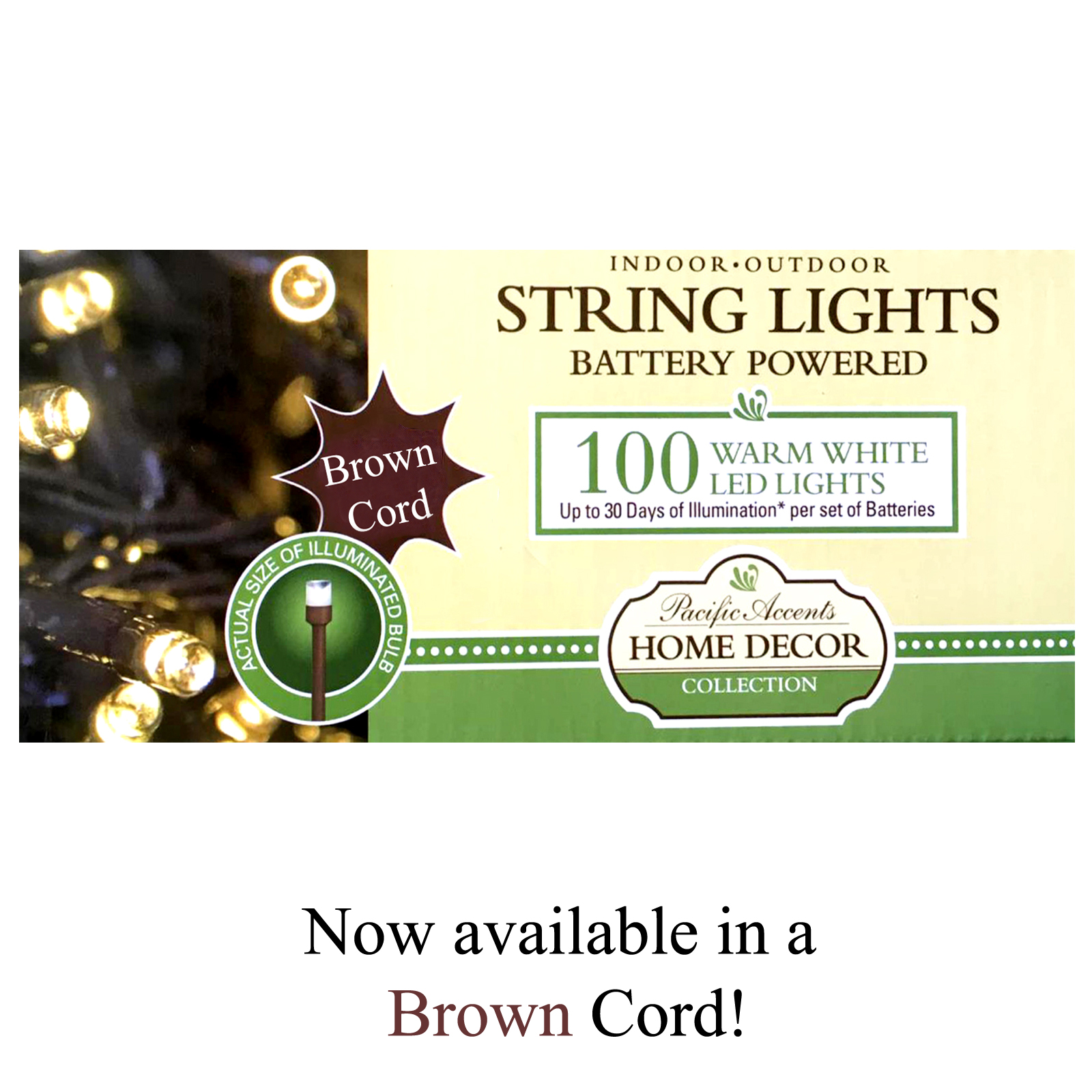 Battery Operated String Lights In Bulk : Wholesale Battery Operated Brown String Lights 100 LED Indoor or Outdoor Use