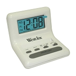Westclox 47539A LCD White Travel Bedside Alarm Clock