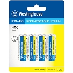 Westinghouse Solar Rechargeable Lithium 400 mAh 3.2v 4 Pack Blister