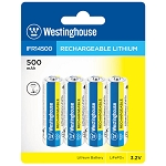 Westinghouse Solar Rechargeable Lithium 500 mAh 3.2v 4 Pack Blister