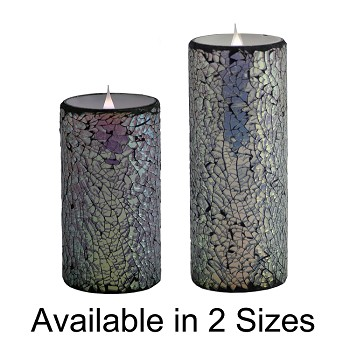 Solare 3D Virtual Flame Candles with Color-Hue Technology Mirrored Mosaic