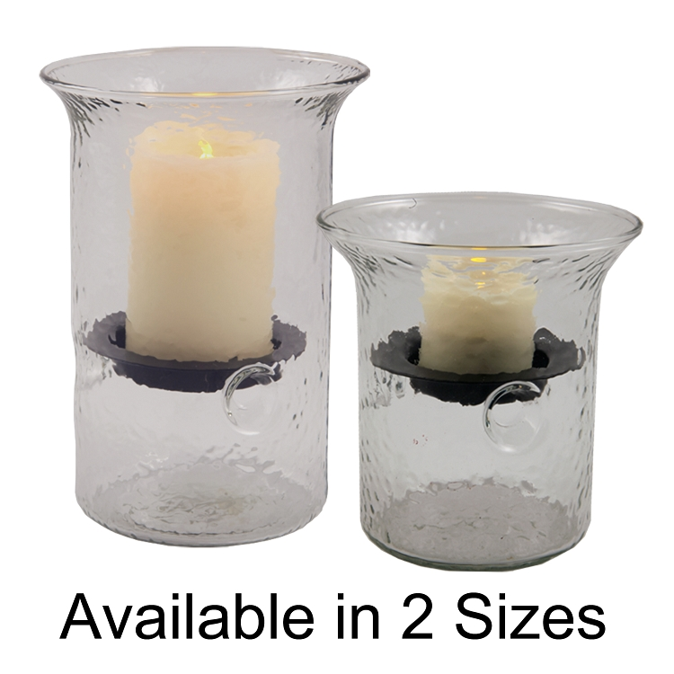 Camden Hammered Glass Flameless Fillable Hurricane Wholesale