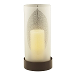 Elmhurst Frosted Glass Hurricane with Flameless Candle