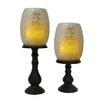 Wilmington Etched Hurricanes and Pedestals with Flameless Candles