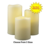 Resin Flameless Pillar Candles Ivory With Melted Top