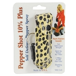 Pepper  Spray .5 Ounce In Yellow-Black Cheetah Print Case