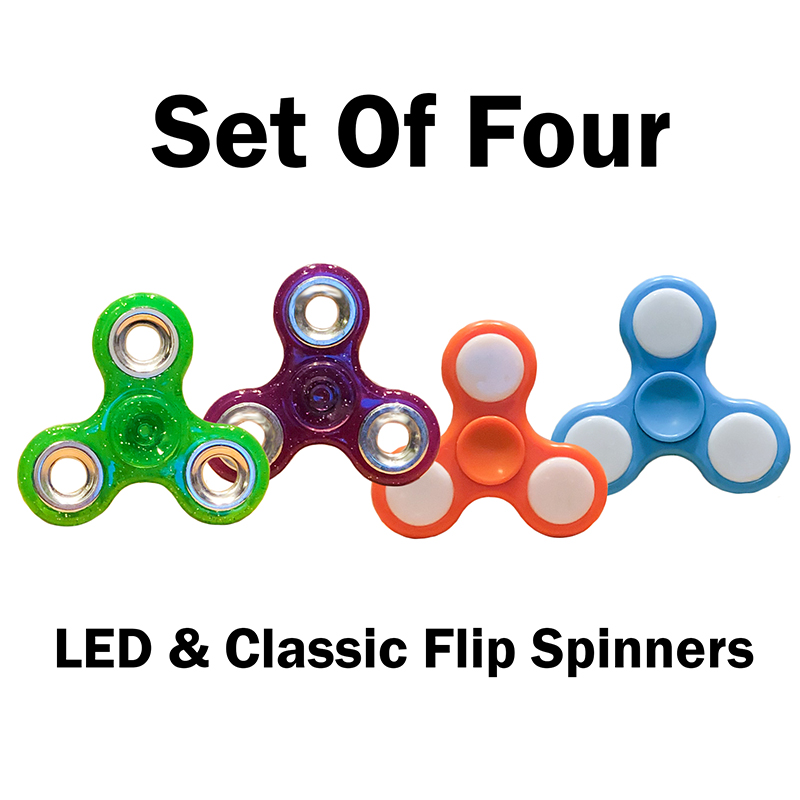 Flip Spinners - Classic and LED Style Set of 4
