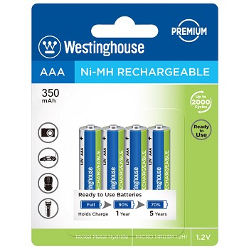 Westinghouse Always Ready AAA Ni-Mh 350mah Solar Rechargeable 4pk