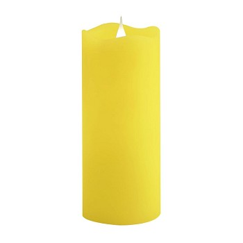 Solare 3D 3 x 7 Yellow Flameless Melted Wax Candle