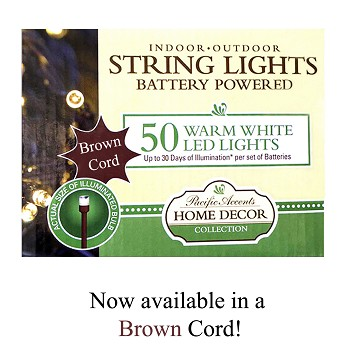 Battery Operated String Lights 50 LED With Brown Cord