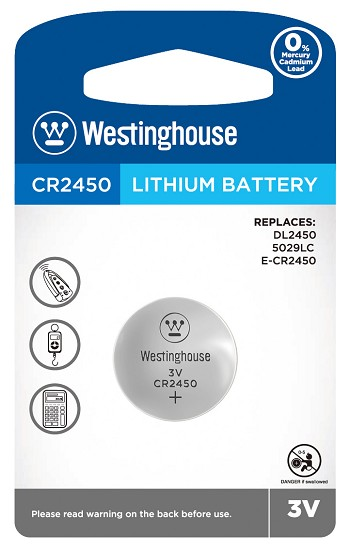 Button Cell CR2450 3.0 V Lithium 1 Pack