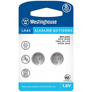 Westinghouse AG13 Alkaline Button Cell 2 Pack