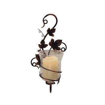 Mendocino Vine Sconce With Flameless Pillar Candle