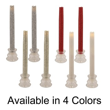 Flameless LED Glittered Taper Candles - Set of 2
